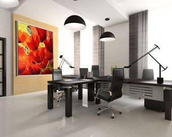 Wall Decor Flowers, Large Wall Decor, Office Art, Large Art Print, Modern Canvas Art, Floral Wall Decor, Home Office Decor Modern Wall Decor
