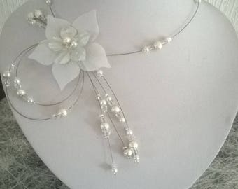 bridal set wedding necklace, bracelet jewelry set, earrings, comb and back white/clear/silver jewel
