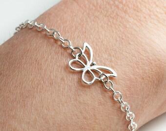 Silver Butterfly Bracelet |  Friendship Bracelet | 925 Sterling Silver Bracelet  | Chain Bracelet | Silver Jewellery | Bridesmaid Gift