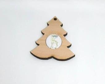 Deer Cabochon and cedar tree decoration