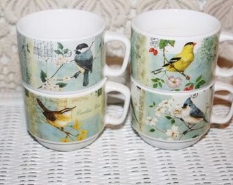 Stacking Cups with Tower Stand 4 Cups with Song Birds Pictorials Ceramic Stacking Cups with Stand