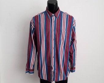 Vintage Robert Stock Stripped Long Sleeve Shirt Sz. L