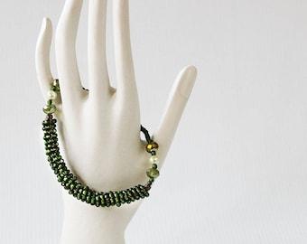 Chunky Bracelet - Beaded Bracelet Rope - Green Seed Bead Bracelet - Beaded Bracelet for Wife - Date Night Jewelry - Romantic Bracelet