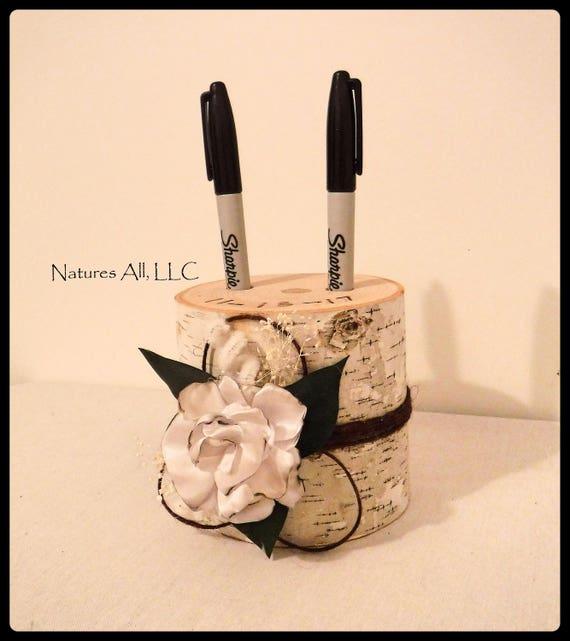 Pen Holder-Tall/Guest Book Pen Holder-White Birch With Satin Flower/Wood Pen Holder/Log Pen Holder/Country Wedding Decor/Rustic Wedding Idea