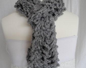 grey knit neckwarmer, metallic silver scarf, chunky yarn tippet, ladder stitch scarf, open design scarf, fun accessory, silver grey muffler