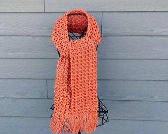 Autumn scarf, pumpkin colored scarf, orange crochet scarf, chunky scarf, long neckwarmer, orange open end scarf, long orange scarf, scarf