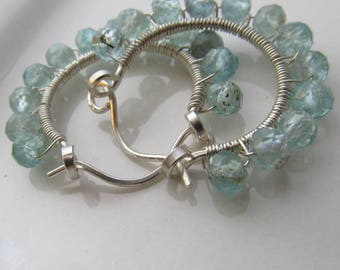 Faceted Blue Apatite Sterling Silver Hoop Earrings Wire Wrapped Handmade