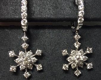 18KW Snowflake diamond dangling earrings, diamond earrings