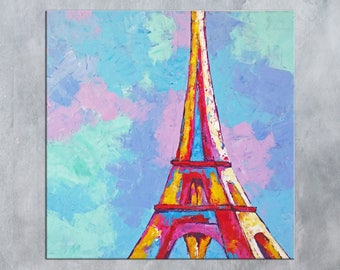Paris Wall art, Paris Decor, Eiffel Tower Decor, Paris Painting, Eiffel Tower art, Painting on Canvas, Living room decor, Paris wall decor