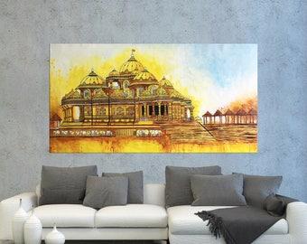 Indian art, Akshardham Painting, Contemporary art, BAPS Mandir, Temple art, Home decor, Hindu God, Painting on canvas, Indian wall art
