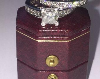 1.01ct Princess Cut Diamond Ring (E/VS1) GIA + Matching Band by Anton Jewelers