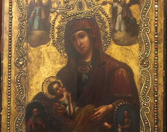 An Antique Russian Icon (mid XIX century) - Madonna and Child