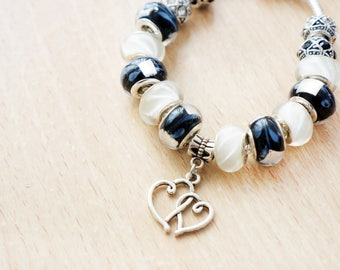 ONE OF A KIND Black and White Marble Beads with Double Heart Charm Bracelet, Girlfriend Gift, Anniversary, Wedding, Maid of Honor | HM4