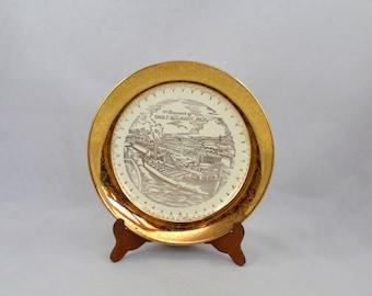 Vintage Souvenir Plate, Sault Ste. Marie, Michigan, Ceramic Souvenir Plate With 22 Kt Gold Rim
