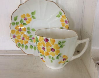 Vintage, cup and saucer,  yellow flowers, floral,  pretty, tableware,