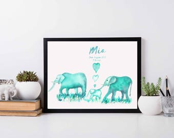 custom nursery art Watercolor Nursery Nursery Wall Art Personalized Art Custom nursery custom kids room wall art customised mint grey