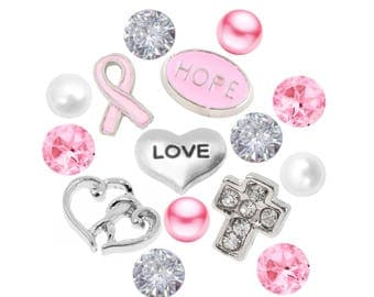 Awareness Breast Cancer Pink Ribbon Pearl and Crystal Floating Charm Set