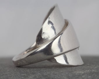 Statement Spoon Ring ~ Art Deco jewellery ~ sterling silver ring ~ unique gift ~ size N ~ one of a kind