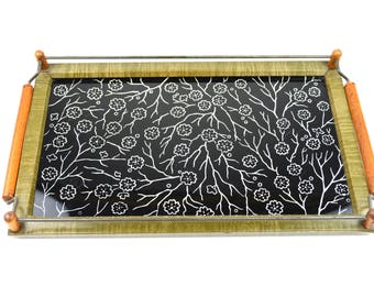 Art Deco Vanity Tray Glass Metal Serving Tray Floral Glass White Flowers Black Background Decorative Tray