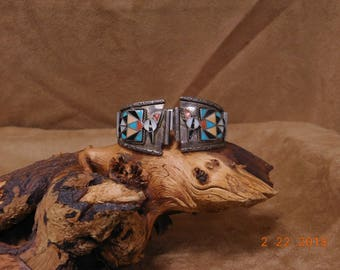 Vintage Zuni Multi-Color Thunderbird Inlay Sterling Silver Watchband
