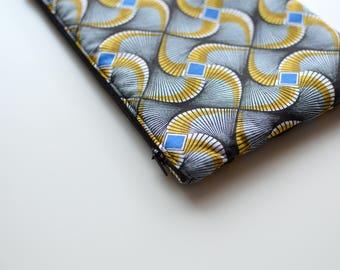 Padded pouch BLUE BAMAKO - WAX ethnic fabric