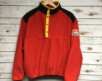 Vintage 90's Marlboro Adventure Team Fleece Snap button red fleece pullover