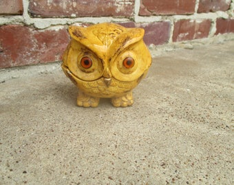 ceramic owl container with lid, owl statue, vintage owl figurine, owl jewelry box, kitschy owl, cute owl, owl lover, owl gift, 70's owl