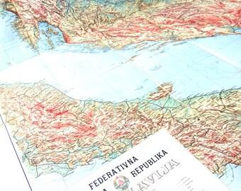 Vintage map of Yugoslavia