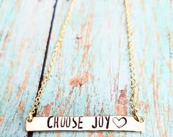 Choose Joy Necklace - Gold Bar Necklace - Dainty Gold Bar Necklace - Personalized Bar Necklace - Inspirational Necklace - Hand Stamped
