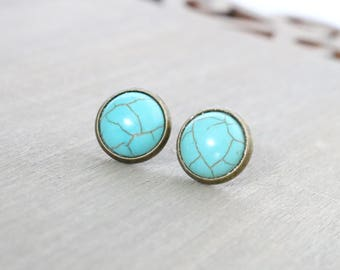 Turquoise Studs, Bronze Earring Studs, Turquoise Dyed Howlite, Blue Studs, Gemstone Studs, For her, Gift for Her, Faux Turquoise