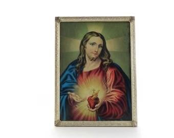 Sacred Heart of Jesus - Jesus Christ Framed Print - Sacred Heart Of Jesus Print in Ornate Frame - Catholic Decor - Vintage Jesus Picture.