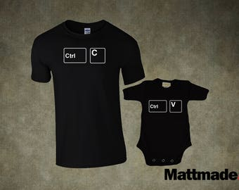 Dad & Baby Matching Shirts. Copy Paste Set PC Mac - T-shirt and jumper for Mom or Dad and Baby bodysuit shirt set