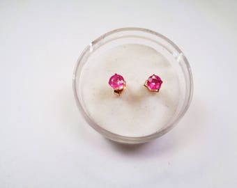 Sapphire Earrings, Posts. In Gold, Natural 3.5mm. Round Pink Sapphire Stud Earrings .