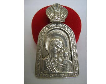 925 Sterling Silver BIG Huge Pendant Mother of God Virgin Mary Hodigitria Hodegetria with the Child Jesus Christ Icon Amulet Made In Ukraine