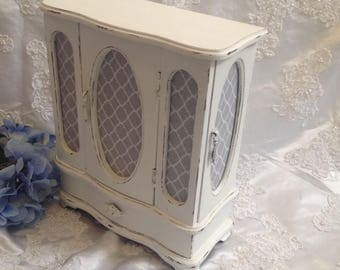 Jewelry Box Shabby Chic Jewelry Armoire Wooden Hand Painted White Distressed  Jewelry