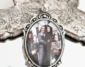 Adams Family silver necklace-gothic ncklace-Halloween necklace-gothic jewelry-silver cameo necklace 30x40mm