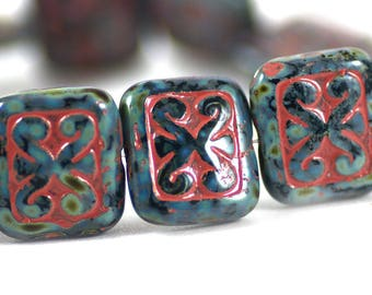 Czech Glass Ornamental Rectangle Beads Black Picasso Gray Pink Wash 12x11mm