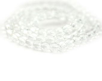 Clear Smooth Round Glass Spacer Beads 4mm