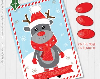 PIN the NOSE on RUDOLPH, Christmas Party Games and Decorations, Christmas Party Printables, Pin The Nose on the Reindeer |  Instant Download