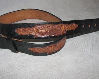 Mexican leather BELT BUCKLE eagle strap Western Cowboy Mexico VINTAGE belt