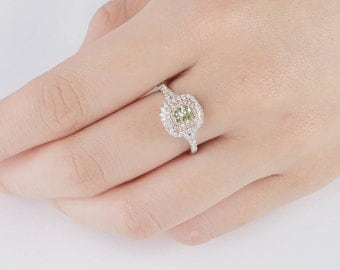 Green Diamond Ring, Diamond Engagement Ring, 18K white and rose gold, Cushion cut Engagement  Ring, Fancy Green Diamond, Diamond Ring