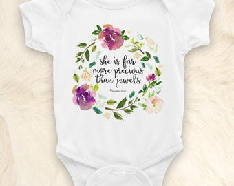 She is Far More Precious Than Jewels Onesie, Proverbs 31:10, Christian Baby Gift, Floral Baby Bodysuit, Watercolor Flowers, Boho Baby Onesie