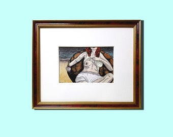 """Sara"" Erotic Pop Art Drawing [4x6"" in frame]"