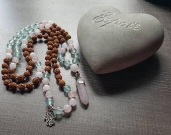 Mala rudraksha, jade, rose quartz and aquamarine