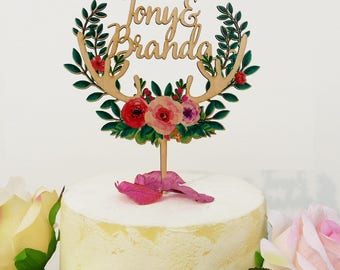Personalized Wedding cake Topper with Couple's First Names , Wood Caketopper with Colorful Floral Wreath & Horns,  Antlers Cake Topper VU012