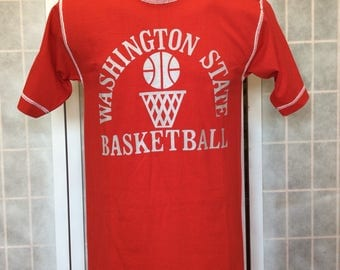 Vintage 1970s/ 80s// Washington State Basketball T Shirt// Bright Red w White Stiches// By Champion// M