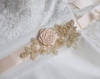 Wedding Dress Sash, Bridal Sash, Champagne Sash, Bridal Belt, Wedding belt, Flower sash, Bridal Dress Belt, GoldBeaded Lace Sash