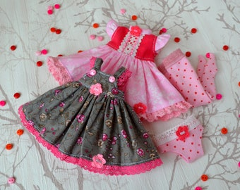 Blythe doll outfit - Blythe Dress, Sundress, Stockings - Clothes for dolls