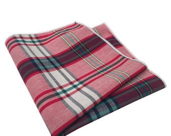 Red, Navy Blue, Yellow and Green Plaid Pocket Square