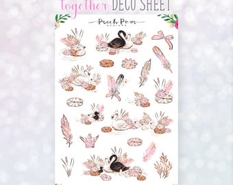 Together- Decorative Swan Planner Stickers